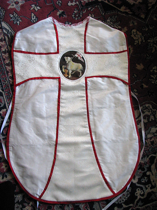white silk travel vestment