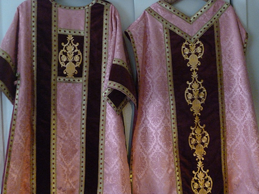 Rose Roman vestment set. Pictured are Dalmatic  (left), Chasuble (right)