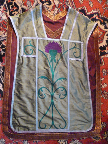 Front of the Roman vestment with a Thistle motif.
